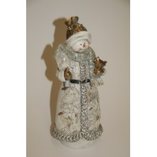 SILVER GLITTER SNOWMAN FIGURINE WITH BIRD 10 INCHES