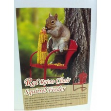 SQUIRREL FEEDER RETRO RED METAL CHAIR